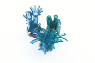 Safira Blom, Underwater World: Evolution Brooch5 x 5 x 6 cmBrass, PVC: hand cut and dyed, fabricated