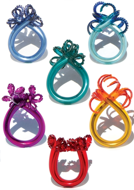 Underwater Word: rings 925 silver or brass, PVC: hand cut and dyed