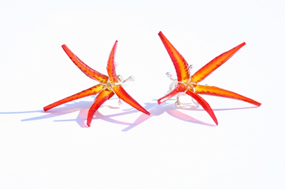 Safira Blom Underwater world earstuds red stars