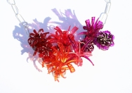 Safira Blom, Underwater World: Neckpiece Redpurple (detail), 2013 925 silver, PVC: hand cut and dyed, fabricated