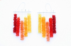 Safira Blom, Three, 2013 Earrings; 925 silver, hand cut and dyed PET plastic from fruit containers